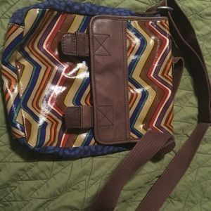 Fossil Key-per purse crossbody laminated canvas